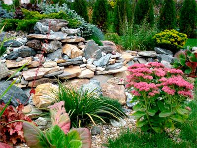 Альпинарий в саду.